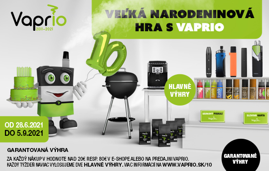Vaprio oslavuje 10 rokov na trhu - Veľká narodeninová hra s Vaprio