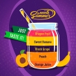 Príchuť Big Mouth Smooth Summer - Hrozno a banán (Orange Juice, Peach, Black Grape, Sweet Banana, Dragon Fruit)